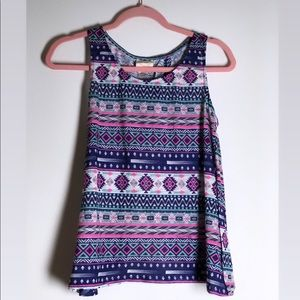 Tribal Print Open Back Tank